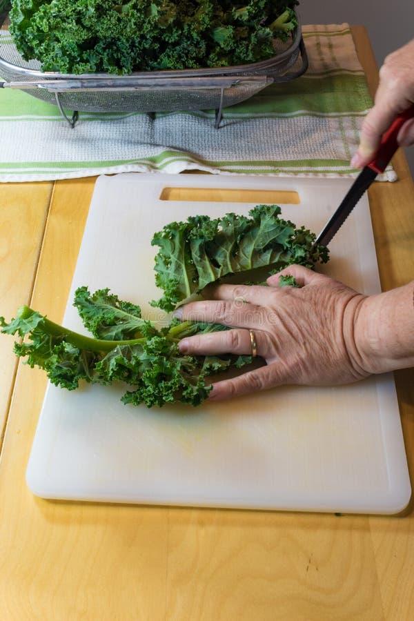 Szczegół kobieta używa nóż pokrajać puszek strona ziobro na kale liściu fotografia stock