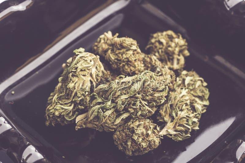 Szczegół kwiat marihuana na ciemnym tle obraz stock