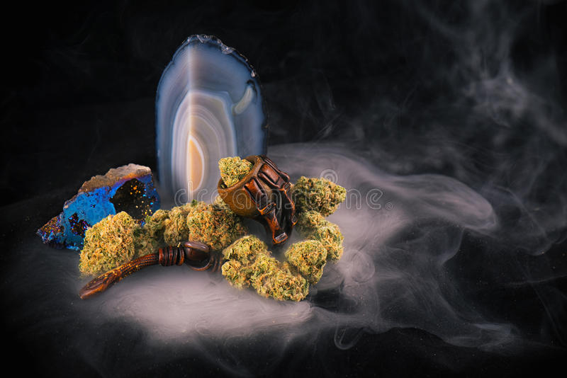 Szczegół marihuana pączki & x28; Zed strain& x29; odizolowywający nad czarnym backgro obraz royalty free