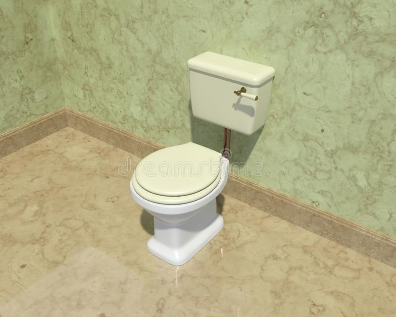 Szczegół marmurowa łazienka z białą toalety i zieleni pokrywą obrazy stock