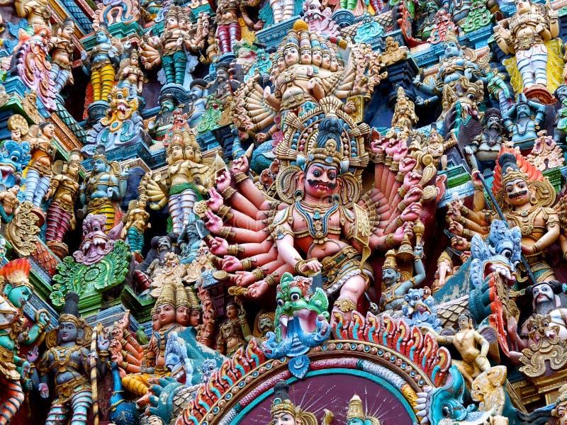 Szczegół, Menakshi świątynia Madurai fotografia royalty free