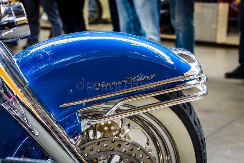 Szczegół motocyklu Harley-Davidson drogi królewiątko zdjęcia royalty free