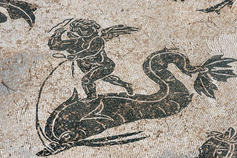 Szczeg?? mozaiki pod?oga w Ostia Antica, Rzym W?ochy - obraz stock