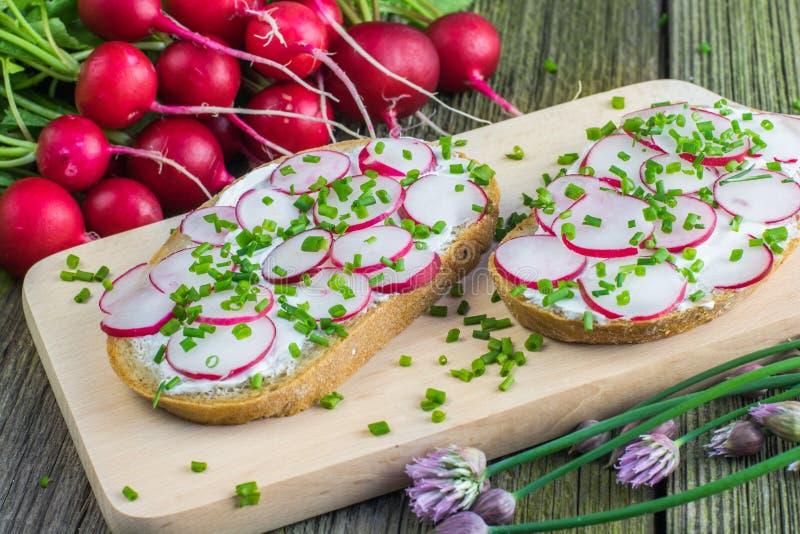 Szczegół na plasterku chleb z serem, rzodkwiami i szczypiorkiem Curd, obraz stock