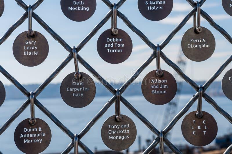 Szczegół niektóre Targowy urok szczupaka miejsca rynku podstawa w targowych porÄ™czach w Seattle zdjęcia royalty free