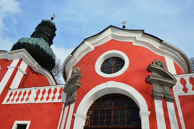 Szczegół niski barokowy churg budynek na calvary w Banska Stiavnica zdjęcie stock