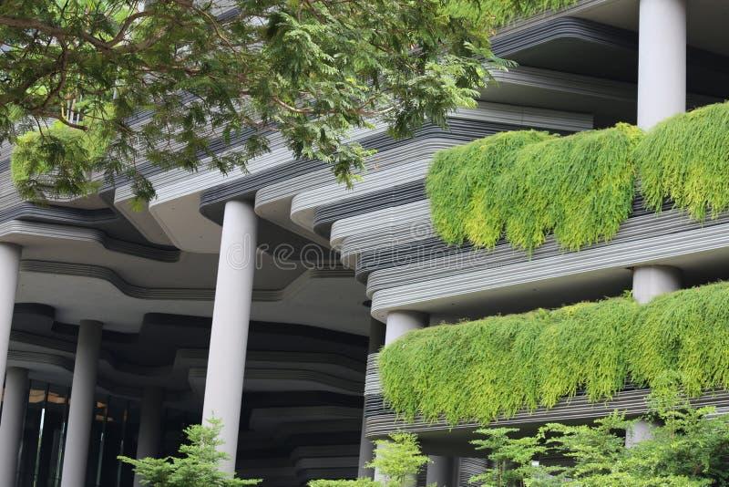 Szczegół nowożytny budynek w Singapore zakrywał roślinnością fotografia stock
