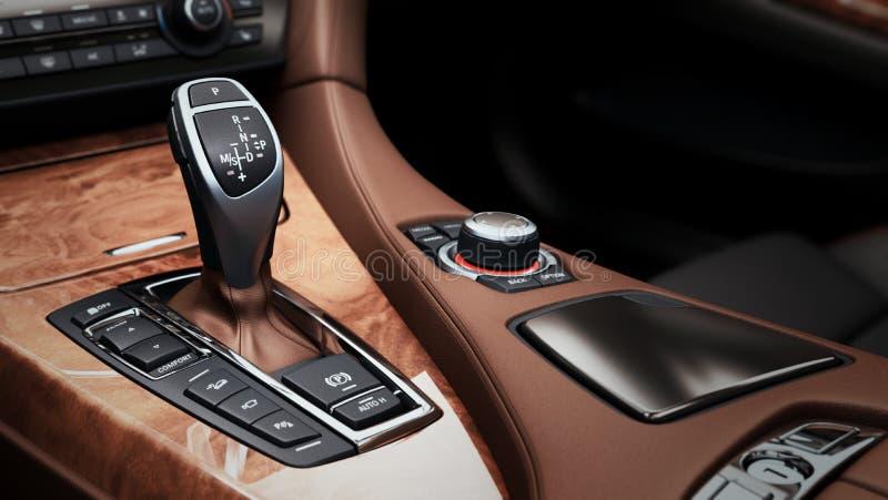 Szczegół nowożytny samochodowy wewnętrzny przekładnia kija automatyczny przekaz royalty ilustracja