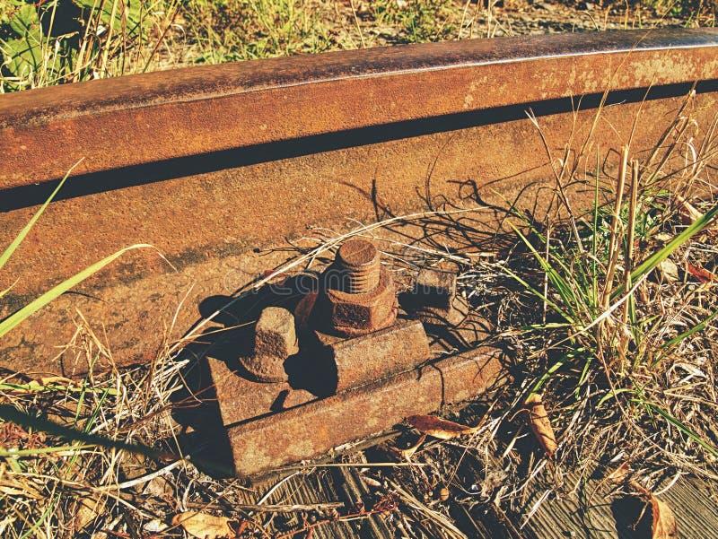 Szczegół ośniedziałe śruby i dokrętka na starej linii kolejowej Drewniany oliwiący krawat zdjęcie royalty free