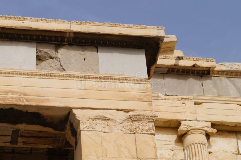 Szczegół od Erechteion, akropol, Ateny, Grecja Kolumna obrazy royalty free