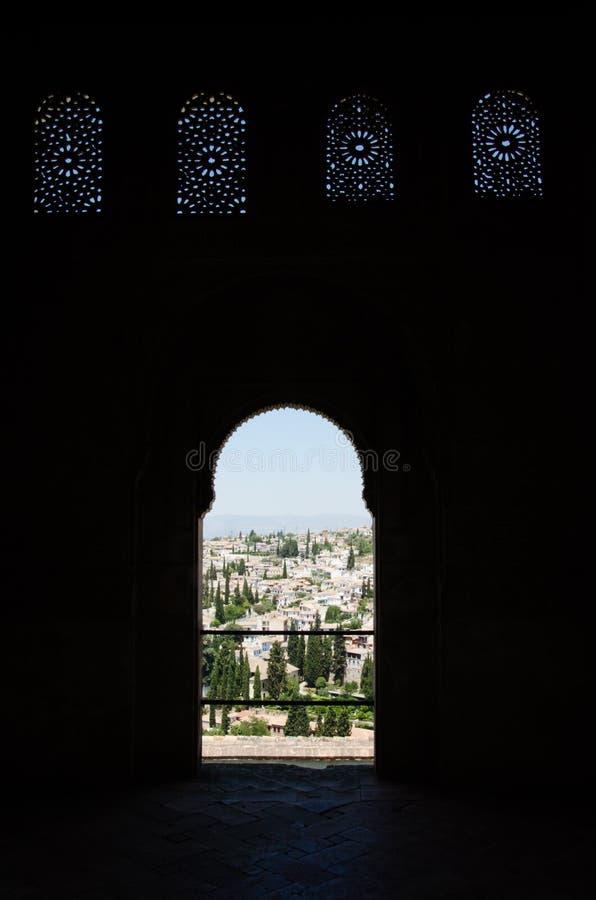 Szczegół pałac Alhambra w Granada Backlighing zdjęcia royalty free
