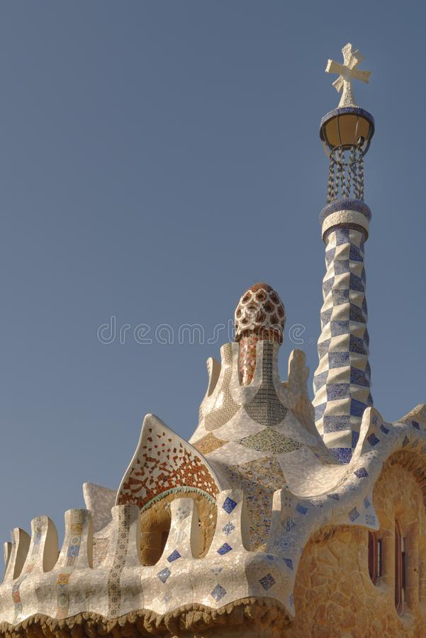 Szczegół Parkowy Guell w Barcelona, Hiszpania obrazy stock