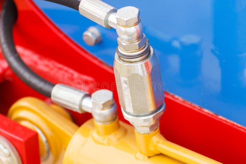 Szczegół pneumatyczna lub hydrauliczna maszyneria, technologii i inżynierii pojęcie fotografia stock