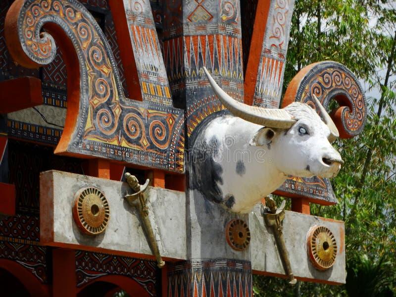 Szczegół przy domem Tana Toraja wioska, tongkonan domy i budynki, Kete Kesu, Rantepao, Sulawesi, Indonezja zdjęcie stock