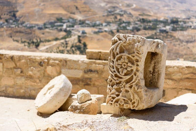 Szczegół rzeźbiący kamień w Karak kasztelu, Jordania obrazy royalty free