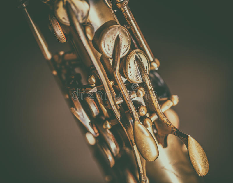 Szczegół saksofonowi klucze zdjęcia royalty free
