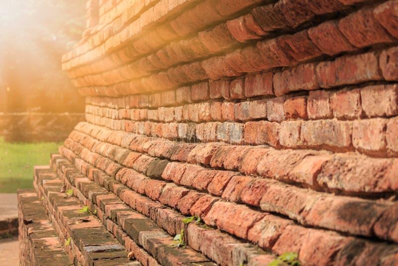 Szczegół stary ściana z cegieł przy archeologicznym miejscem zdjęcie stock