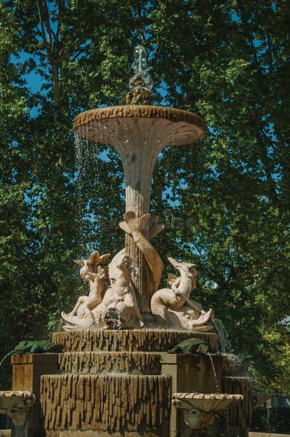 Szczegół statuy na fontannie w parku Madryt zdjęcie royalty free