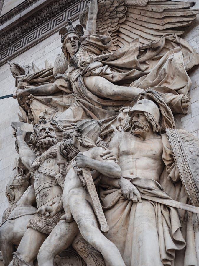 Szczegół statuy umieszczać przy cztery stronami triumfalny zdjęcia stock