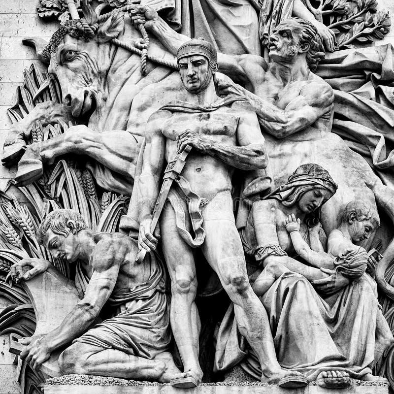Szczegół statuy umieszczać przy cztery stronami triumfalny obrazy stock