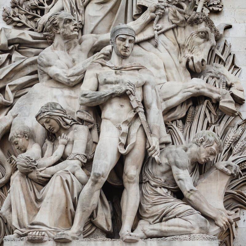 Szczegół statuy umieszczać przy cztery stronami triumfalny zdjęcie royalty free