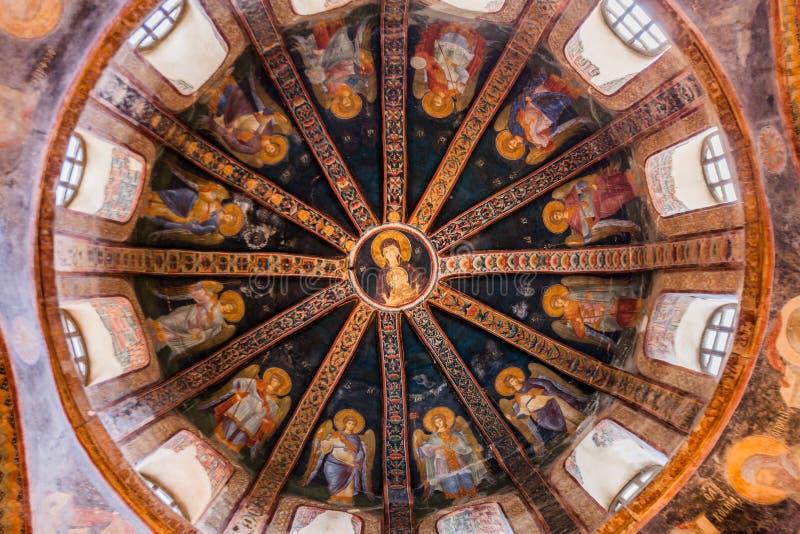 Szczegół sufit w Chora kościół zdjęcie royalty free