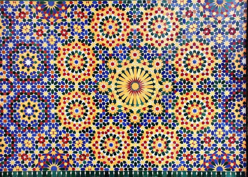 Szczegół tradycyjna marokańska mozaiki ściana, Maroko fotografia royalty free