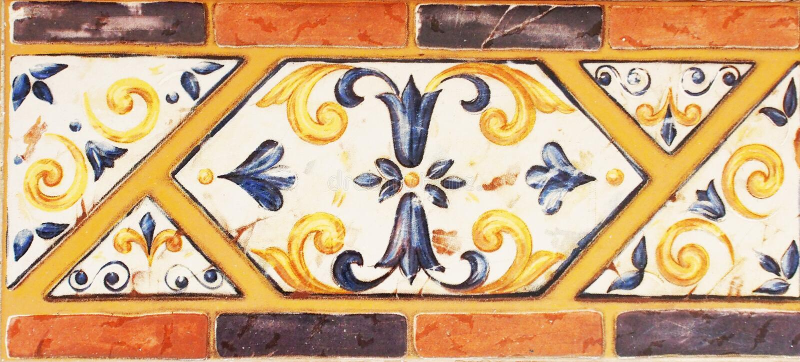 Szczegół tradycyjne płytki od fasady stary dom dekoracyjne płytki Valencian tradycyjne płytki ornament kwiecisty Majolika, zdjęcie royalty free