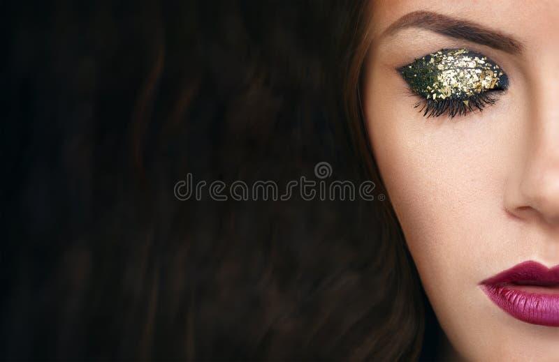 Szczegół twarz model z makeup obraz royalty free