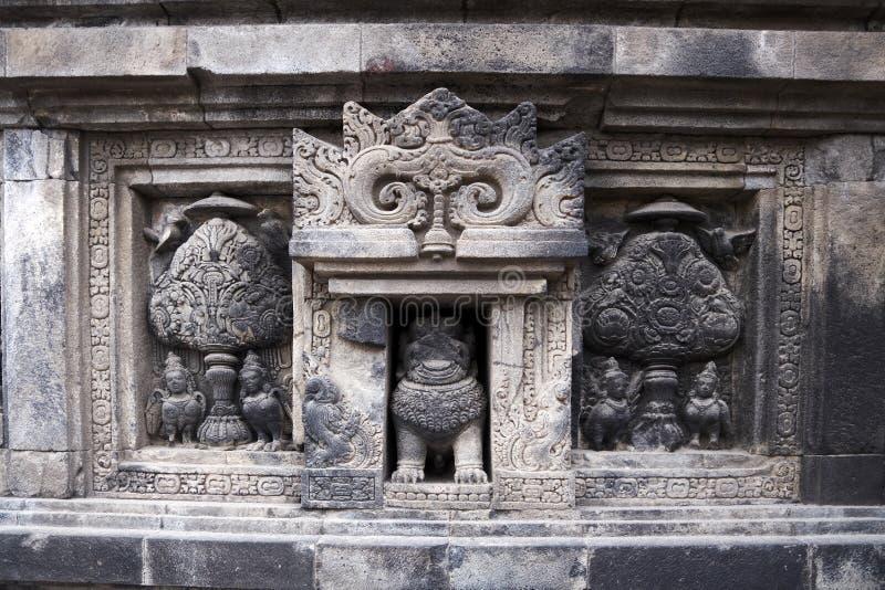 Szczegół ulga w Prambanan świątyni zdjęcie royalty free