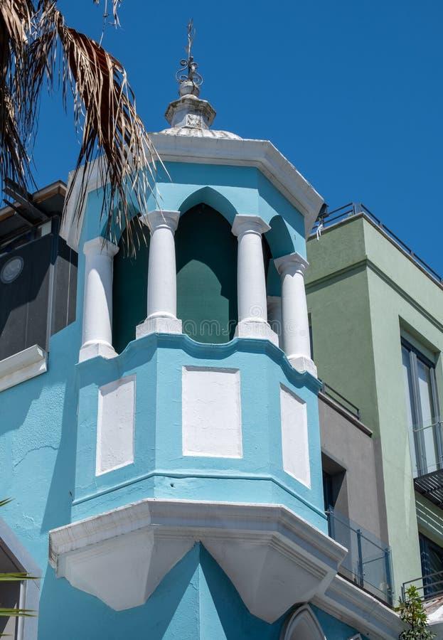 Szczegółowa fotografia bławy budynek w Malajskiej ćwiartce, Bo Kaap, Kapsztad, Południowa Afryka fotografia royalty free