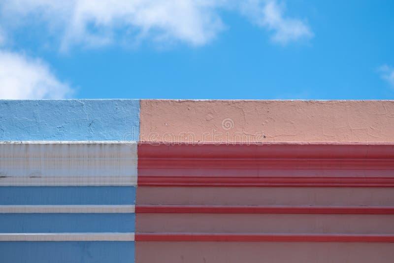 Szczegółowa fotografia kolorowi domy w malajczyk ćwiartce, Bo Kaap, Kapsztad, Południowa Afryka zdjęcie royalty free