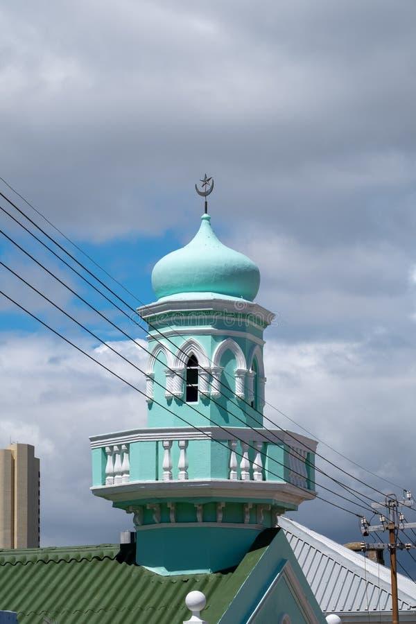 Szczegółowa fotografia turkusowy budynek w Malajskiej ćwiartce, Bo Kaap, Kapsztad, Południowa Afryka obraz royalty free