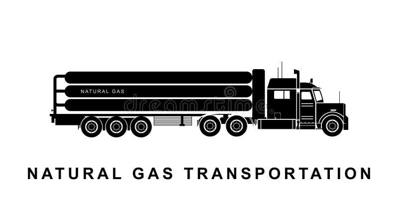 Szczegółowa gazu naturalnego transportu ciężarówki ilustracja ilustracja wektor