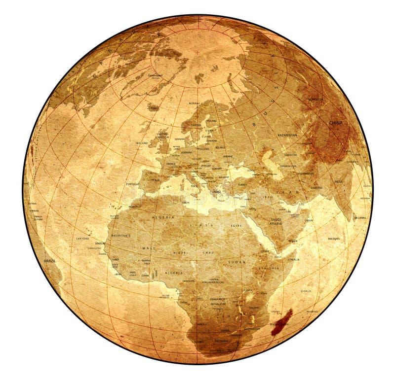 szczegółowa globe stara ilustracja wektor