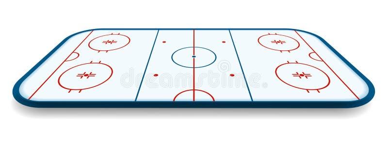 Szczegółowa ilustracja icehockey lodowisko, pole, sąd z perspektywami, eps10 wektor ilustracji