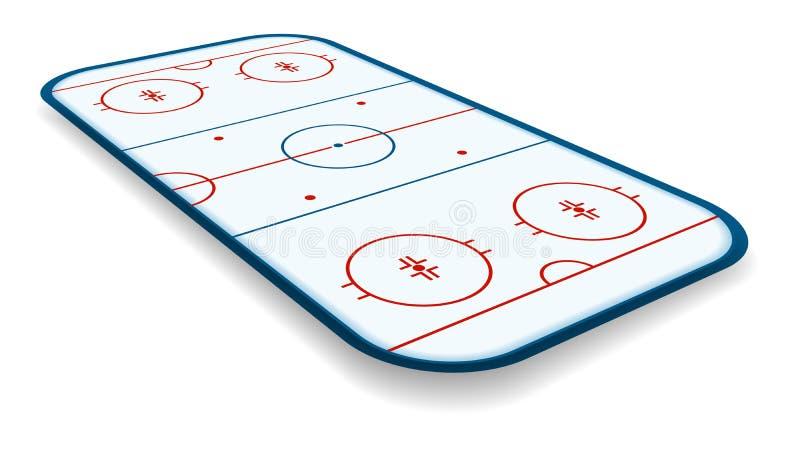 Szczegółowa ilustracja icehockey lodowisko, pole, sąd z perspektywami, eps10 wektor royalty ilustracja