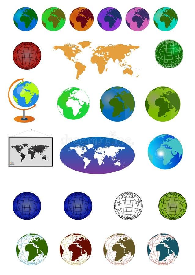 Mapy i kuli ziemskiej ikony set royalty ilustracja