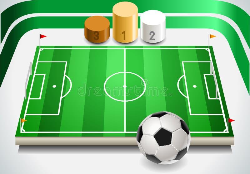 Boisko Do Piłki Nożnej z piłki nożnej podium i piłką royalty ilustracja