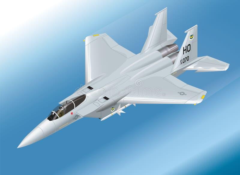 Szczegółowa Isometric Wektorowa ilustracja F-15 Eagle myśliwiec odrzutowy Powietrzny royalty ilustracja