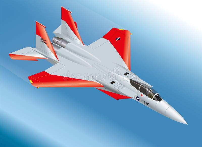 Szczegółowa Isometric Wektorowa ilustracja F-15 Eagle myśliwiec odrzutowy Powietrzny ilustracji
