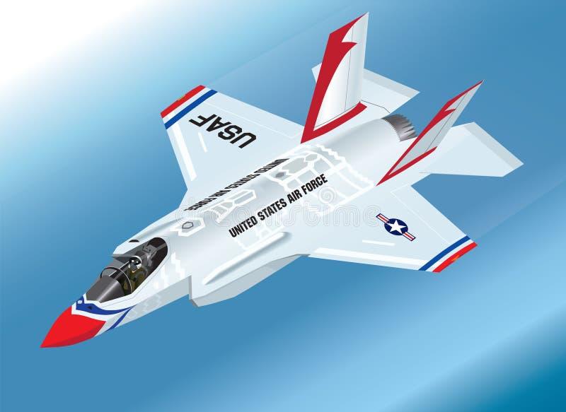 Szczegółowa Isometric Wektorowa ilustracja powietrzny F-35 II błyskawicy myśliwiec w thunderbird farby Aerobatic Drużynowym plani ilustracja wektor