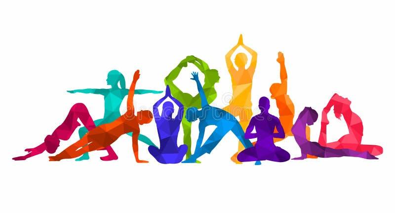 Szczegółowa kolorowa sylwetki joga ilustracja koncepcja kulowego fitness pilates złagodzenie fizycznej gimnastyki AerobicsSport ilustracja wektor