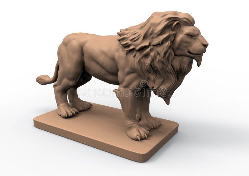Szczegółowa lew statua ilustracji