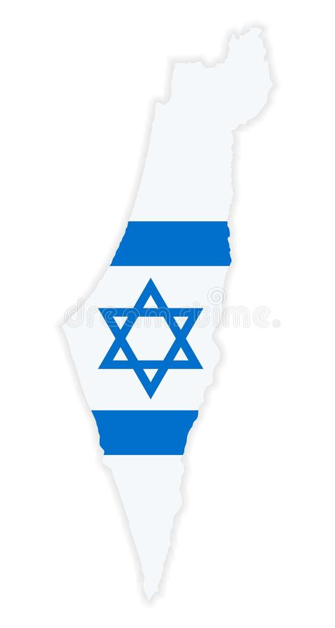 Szczegółowa mapa Izrael z flaga państowowa ilustracji