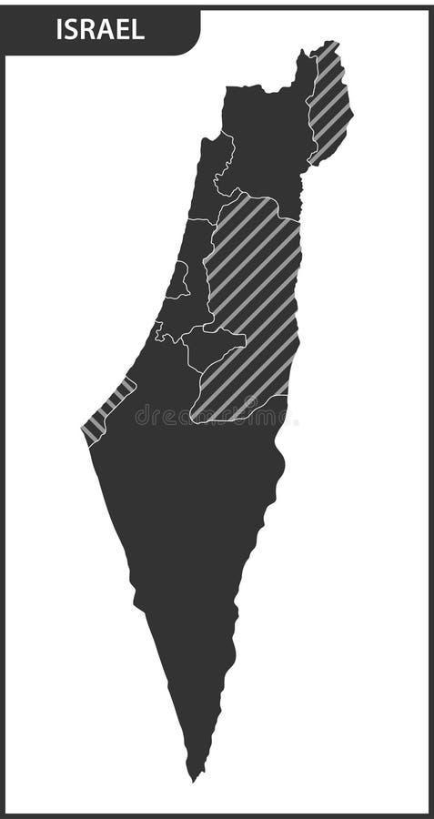 Szczegółowa mapa Izrael z regionami ilustracji