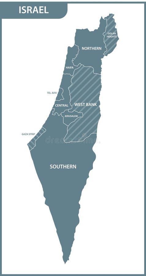 Szczegółowa mapa Izrael z regionami ilustracja wektor