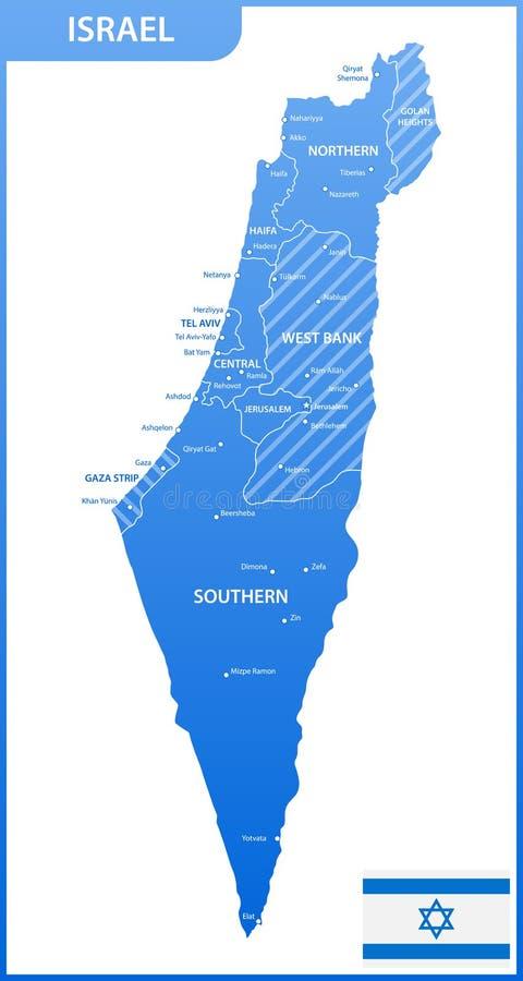 Szczegółowa mapa Izrael z regionami, stany lub miasta, capitals, flaga państowowa ilustracja wektor