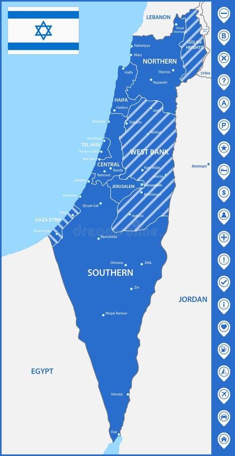Szczegółowa mapa Izrael z regionami, stany lub miasta, capitals Z mapa pointerami lub szpilkami Miejsce lokaci znaki lub markiery royalty ilustracja