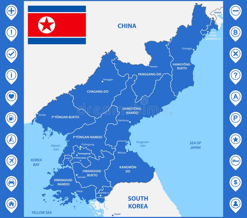 Szczegółowa mapa Północny Korea z regionami, stany lub miasta, kapitał Zawierać część Chiny, Rosja, Południowy Korea ilustracja wektor